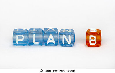 Text Plan B on colorful cubes over white