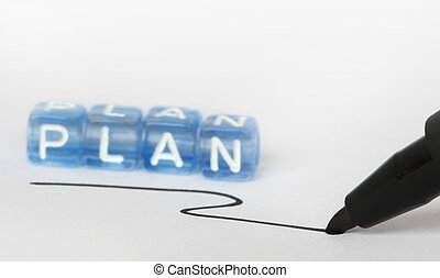 Text Plan on colorful cubes Highlighted with a marker