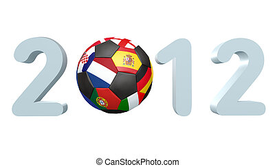 Soccer 2012 - 2012, 3d angled with reflection and copyspace...