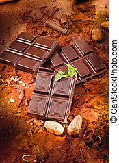 chocolate bar - different chocolate bars and cocoa and mint
