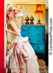 baroque fashion blonde woman with flowers hat - baroque...
