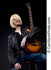 homem, -, Guitarra, jogador, cosplay, anime, personagem