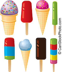 vector colorful icecream and popsicles