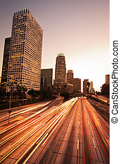 Los Angeles, Urban City at Sunset with Freeway Traffic