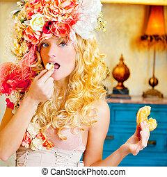 婦女, 吃,  dona, 時裝, 白膚金髮, 巴洛克