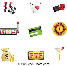 Gambling icons - A vector illustration of gambling related...