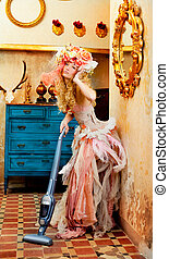 baroque fashion blonde housewife vacuum cleaner
