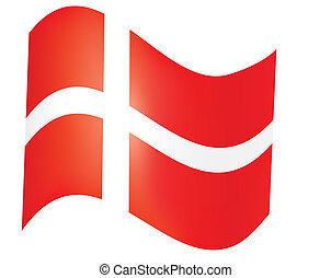 fly-away Danish flag over white vector illustration