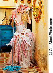 baroque fashion blonde housewife woman mop chores - baroque...