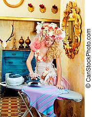 baroque fashion blonde housewife woman iron chores - baroque...