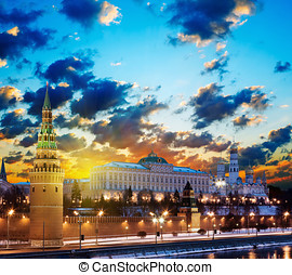 Moscow Kremlin in the early morning at dawn. Russia - Moscow...