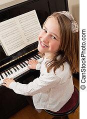 sonriente, niña, juego, ella, piano