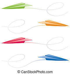 Paper Airplanes - Paper airplanes in green, orange, red and...