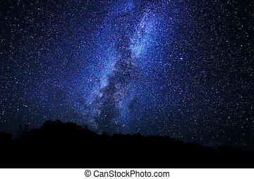 estrellas, noche, cielo, lechoso, manera, galaxia