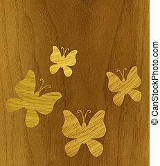 Butterflies of wood veneer - Marquetry, butterflies of ash...