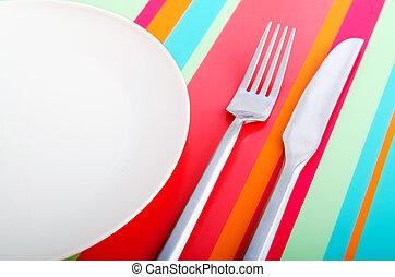 prato, vazio, utensílios