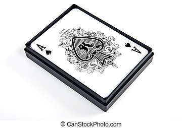 Ace of spades in the box on white background