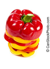 Slices of red and yellow bell peppers