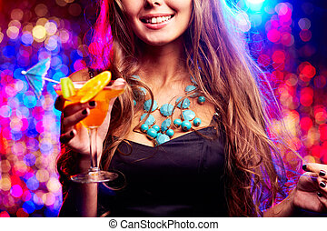 Girl in night club - Image of happy girl with cocktail in...