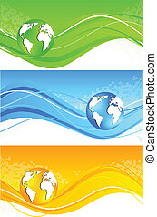 Set of wavy banner with globe