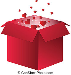 Flying Red Hearts in a box - Flying Red Hearts flying out of...