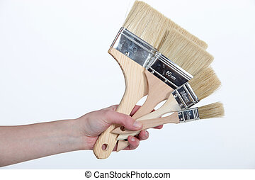 female hand holding out brushes