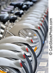Line up - Group of bicycles in the row