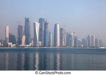 Skyline of the Doha downtown district Dafna Qatar, Middle...