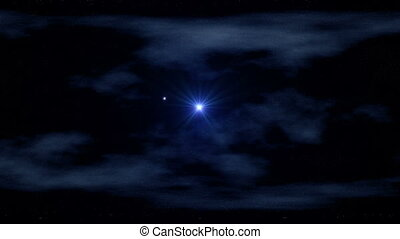 Star and meteor - The star and flying meteor shine in the...