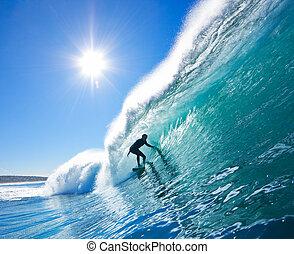 tablista, en, azul, Océano, onda
