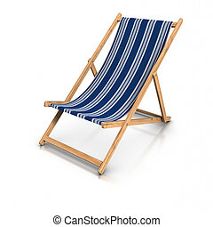 Deck Chair - 3d rendered blue deck chair.