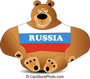 bear toy with flag, smile, powerfull and big