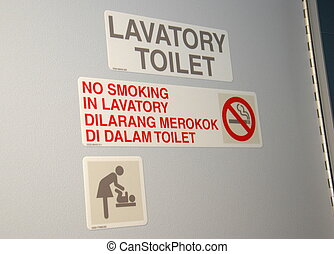 Aircraft Lavatory - Lavatory sign in the aircraft