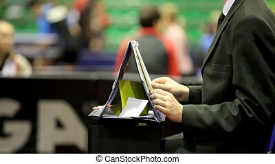sport referee - referee at the competitions in table tennis