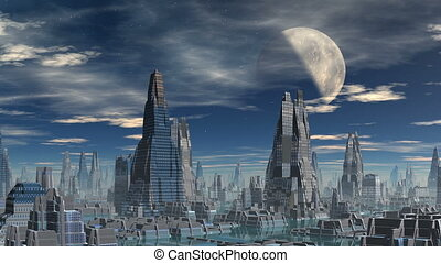 City of aliens against the sky, moon and clouds