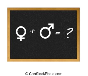Sex. - Blackboard with male and female signs.