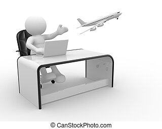 Travel agency - 3d people - human character , person sitting...
