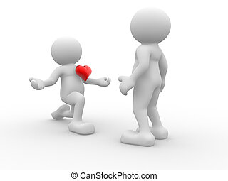 Declaration of love - 3d people - human character , person...