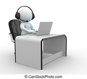 Laptop - 3d people - human character , person with headphone...
