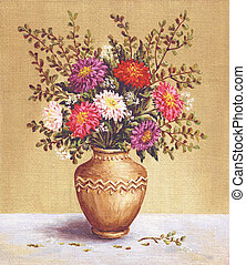 Asters in a camphora, painting - Picture, still-life,...