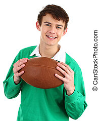 rugby player - A rugby player holding a ball, isolated on...