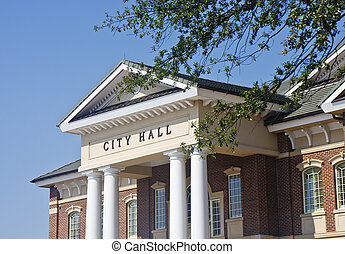 Classic City Hall with Columns - A classic brick town city...