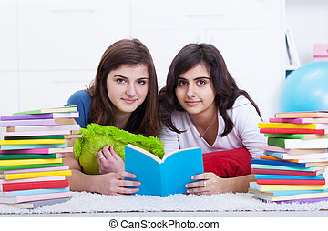 Tutoring concept - girls learning together with lots of...