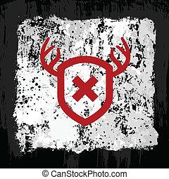 Red antler shield design