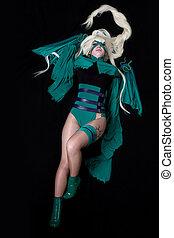 jovem, loura, menina, verde, banshee, cosplay, traje