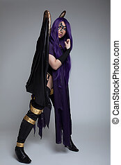 girl in purple fury cosplay costume character - girl stand...