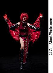 vermelho, fúria, menina, cosplay, anime, personagem