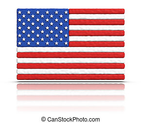 Flag of the United States made with plasticine material.