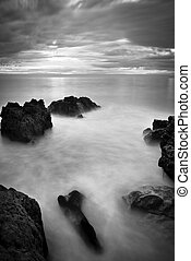 Beautiful Seascape, Ocean and Rocks at Sunset, Black and...