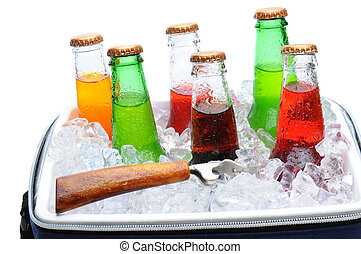 Assorted Soda Bottles in Ice Chest - Assorted soda bottles...